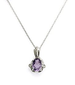 Sterling Silver .50 ct. t.w. Amethyst & Diamond Accent Pendant