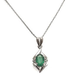 Sterling Silver .75 ct. t.w. Emerald & Diamond Accent Pendant
