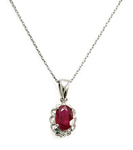 Sterling Silver 1.0 ct.t.w. Ruby & Diamond Accent Pendant