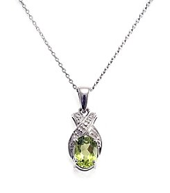 Sterling Silver .75 ct. t.w. Peridot & Diamond Accent Pendant
