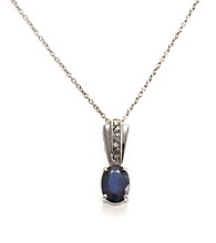 Sterling Silver 1.0 ct. t.w. Sapphire & Diamond Accent Pendant