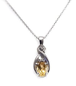 Sterling Silver .75 ct. t.w. Citrine & Diamond Accent Pendant