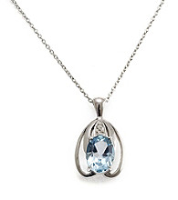 Sterling Silver 1.5 ct. t.w. Blue Topaz & Diamond Accent Pendant