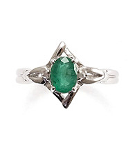 Sterling Silver .75 ct. t.w. Emerald & Diamond Accent Ring