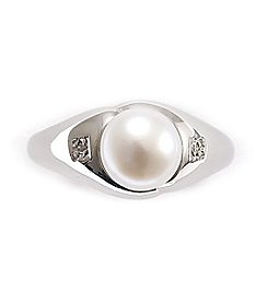 Mother-Of-Pearl & Diamond Accent Sterling Silver Ring