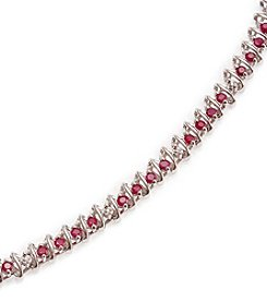 2.0 ct. t.w. Ruby Sterling Silver & Diamond Accent Bracelet