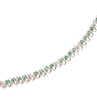1.5 ct. t.w. Emerald Sterling Silver & Diamond Accent Bracelet