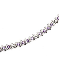 1.25 ct. t.w. Amethyst Sterling Silver & Diamond Accent Bracelet
