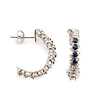.50 ct. t.w. Sapphire Sterling Silver & Diamond Accent Earrings