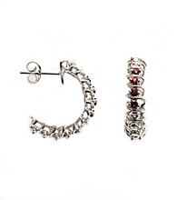 .33 ct. t.w. Garnet Sterling Silver & Diamond Accent Earrings