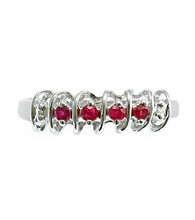 .20 ct. t.w. Ruby Sterling Silver & Diamond Accent Ring