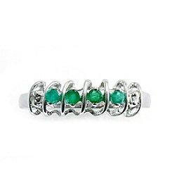 .20 ct. t.w. Emerald Sterling Silver & Diamond Accent Ring