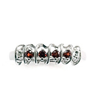 .20 ct. t.w. Garnet Sterling Silver & Diamond Accent Ring