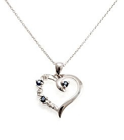 .20 ct. t.w. Sapphire & Diamond Accent Sterling Silver Heart Pendant