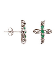 .25 ct. t.w. Emerald & Diamond Accent Sterling Silver Cross Earrings