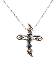 .25 ct. t.w. Sapphire & Diamond Accent Sterling Silver Cross Pendant