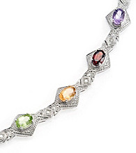 5.0 ct. t.w. Semi-Precious Stone, Sterling Silver & Diamond Accent Bracelet