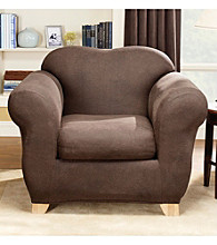 Sure Fit® Stretch Faux Leather Chair Separate Seat Slipcover