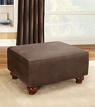 Sure Fit® Stretch Faux Leather Ottoman Slipcover