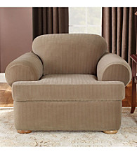 Sure Fit® Stretch Pinstripe Chair Separate Seat T-Cushion Slipcover