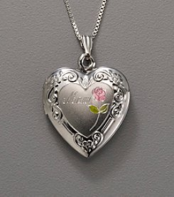 Sterling Silver Heart Locket with Rose