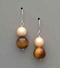 Sterling Silver, Pearl & Tiger Eye Stone Drop Earrings
