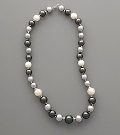 Sterling Silver & Graduated Shell Pearl Necklace - White/Black/Silver