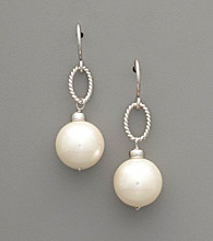 Sterling Silver White Shell Pearl Drop Earrings