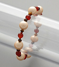 Shell Pearl, Red Agate & Tiger's-Eye Bead Stretch Bracelet
