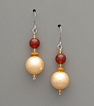 Sterling Silver, Shell Pearl & Semi-Precious Stone Drop Earrings