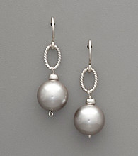 Sterling Silver & Gray Shell Pearl Drop Earrings