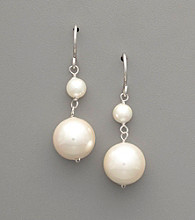 Sterling Silver & White Shell Pearl Double Drop Earrings
