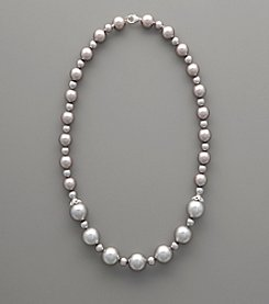 Sterling Silver & Gray Shell Pearl Necklace