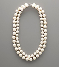 Sterling Silver & White Shell Pearl Two-Row Necklace