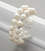 Sterling Silver White Shell Pearl Two-Row Bracelet