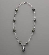 Sterling Silver and Shell Pearl Drop Necklace - Silver/Black