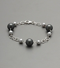 Sterling Silver Shell Pearl Bracelet - Gray/Black