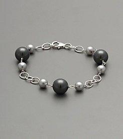 Sterling Silver Shell Pearl Bracelet - Gray/Black
