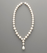 Sterling Silver White Shell Pearl Drop Necklace