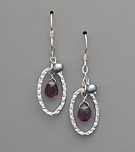 Sterling Silver Amethyst & Freshwater Pearl Drop Earrings