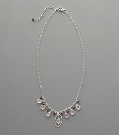 Sterling Silver Rose Quartz and Garnet Drop Necklace