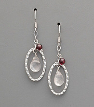 Sterling Silver Rose Quartz and Garnet Drop Earrings