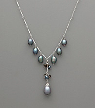 Sterling Silver, Pearl and Smoky Quartz Drop Necklace