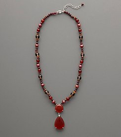 Sterling Silver Carnelian and Cranberry Freshwater Pearl Necklace