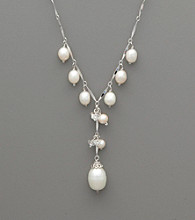 Sterling Silver Freshwater Pearl and Crystal Drop Necklace
