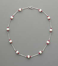 Sterling Silver Freshwater Pearl and Ruby Station Necklace