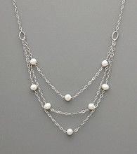 Sterling Silver & Freshwater Pearl Three-Layer Necklace