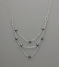 Sterling Silver & Peacock Freshwater Pearl Three-Layer Necklace