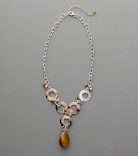 Sterling Silver, Mother-Of-Pearl, Freshwater Pearl, Citrine & Tige's-Eye Drop Necklace