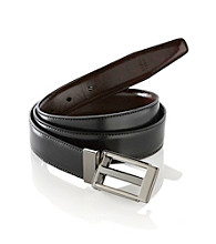 John Bartlett Statements Men's Reversible Rectangle Buckle Belt - Gunmetal